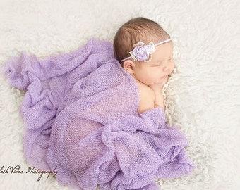 Newborn Lavender Rosette Headband with Lace & Pearls