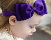 Purple Bow Headband/ Purple Baby Headband/ Big Bow Headband/ Baby Hair Accessories/ baby headbands and bows / Purple Headband/ Newborn Bow