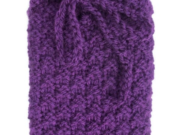 Tarot card bag Purple Rune pouch, crystals, wicca Knitted
