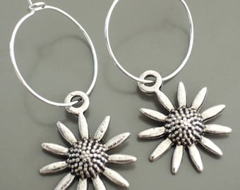 Silver Earrings - Hoop Earrings - Flower Earrings - Sunflower Earrings - handmade jewelry
