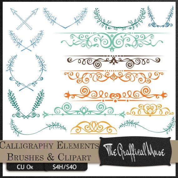 Calligraphy Elements Photoshop Brushes By Thegrafficalmuse