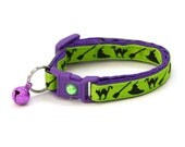 Halloween Cat Collar -Witches Brew on Green and Purple - Kitten or Large Size - Halloween Cat Collar