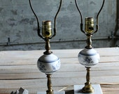 Vintage Brass with Milk Glass and Marble Lamp Base - 1 Available