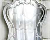 C O R S E T Shaped Mirror French Vanity Shield Crest Shabby Chic