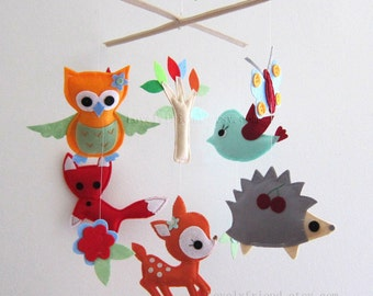 Baby Mobile - Brilliant woodland animal baby crib mobile - Woodland theme baby mobile - orange deer mobile - red baby fox nursery mobile