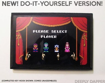 Super Mario Brothers 2 Key Holder - MAKE YOUR OWN - Mario Princess Peach Toad and Luigi - Handmade Holidays