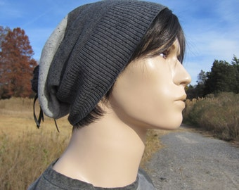 Mens Gray Striped Slouchy Beanie Hat Stripe Cotton Knit Tam Black Leather Tie Back A1450