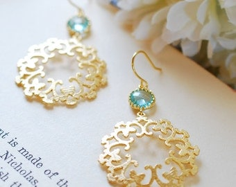 Aqua Blue Dangle Earrings Gold Filigree Earrings March Birthstone Jewelry Wedding Earrings Bridesmaid Jewelry Something Blue, Boho Gypsy