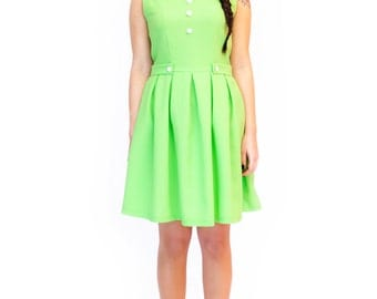 Green mod dress - A line 60s mod - tea dress modette