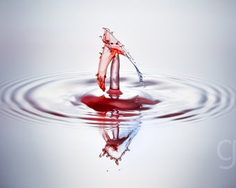 """Liquid Sculpture Blue and Red Water Drop Collisions Macro Photography """"Arrow Head"""""""