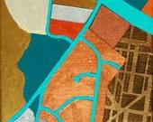A Little West, mixed-media/acrylic on canvas, map art