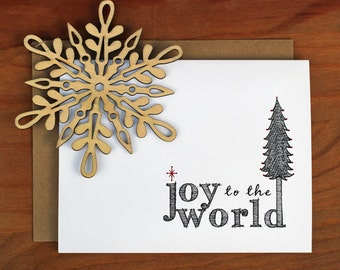 Joy to the World Christmas Tree Card Holiday Greeting Card