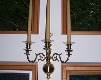 Pair of Solid Cast Brass Candelabras with Three Arms Each