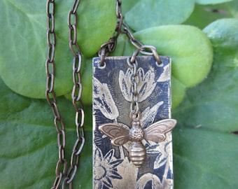 mini book booklet journal necklace vintaj bee charm botanical nature inspired jewelry gardener journal etched brass metal vintaj jewelry