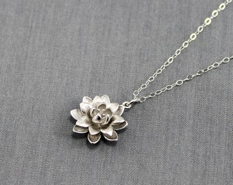 Lotus Necklace, Silver Lotus Blossom Charm on a Sterling Silver Cable Chain, Dainty Everyday Necklace, Lotus Flower, Bridesmaid Jewelry