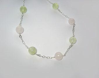 Rose Quartz, Prehnite In Sterling Silver Necklace