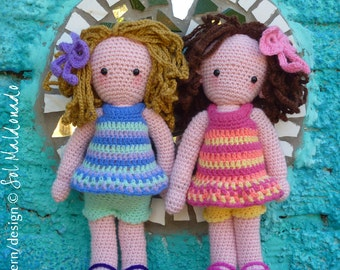 Crochet Doll Pattern PDF - Amigurumi Girls Sara & Kate best friends - Instant Download
