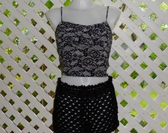 Crocheted Beach Shorts Cover Up in Black Cotton