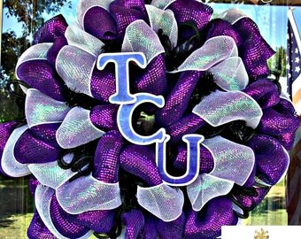 Deco Mesh TCU Wreath, deco mesh wreaths, wreaths for door, college football, college wreath
