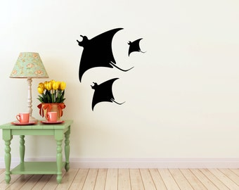 Manta Ray Wall vinyl DECAL- fish ocean stingray sea Animal, sticker art, room, home and business decor