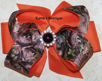 Camo Hair Bow or Headband / Mossy Oak & Orange / Bling / Flower Girl / Pageant / Photo Prop / Infant / Baby / Girl / Toddler / Boutique