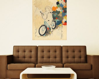 """Girl on Bike Collage Art Wall Decal Sticker by Hollie Chastain - """"The First Freedom"""""""