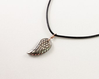 Mens necklace: carved stone wing necklace for men; pyrite jewelry, genuine leather and natural gemstone necklace