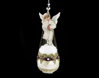 victorian christmas ornament, angel ornament, victorian ornament, christmas angel, ornament with angel - THE WINTER ANGEL