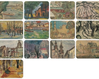 G. Bushmelev, incl. Watercolors. Set of 13 Vintage Postcards - 1975, Soviet Artist Publ.