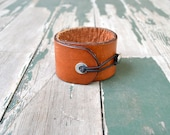 Leather Cuff Bracelet - Brown Leather - Completely Adjustable - Handmade Upcycled