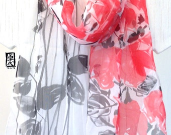 Red Floral Scarf, Silk Scarf Handpainted, Silk Chiffon Scarf, Red Silk Scarf Hand painted, Takuyo, Made to order