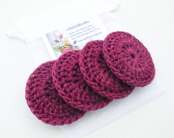Burgundy Pot Scrubber - Set of 2 through 8 - Crochet Nylon Dish Scrubbies