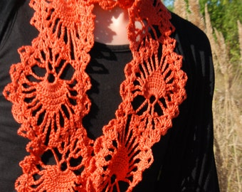 Crochet Scarf, Crochet Lace Scarf, Crochet Lace, Orange Crochet Scarf, Coral Orange Crochet Lace Scarf, Made to order