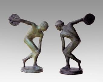 Bronze Sculpture, Greek Discus Thrower Athlete Statue, Ancient Greece Olympic Games, Discobolus, Metal Sculpture, Art Decor, Museum Replica