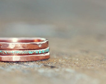 Handmade stacking rings - The Hammer Happy Stack