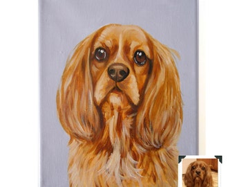 "8x10"" Custom Dog Portrait Acrylic / Custom Pet Portrait - 1 Pet Solid Background Wrapped canvas Original Painting Pet Memorial"