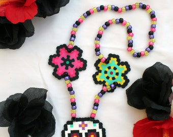 SALE!! Day of the Dead Bright Skull Kandi Necklance
