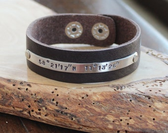 Logitude and Latitude Personalized Leather & Silver Cuff Bracelet, Custom Men's or Women's Cuff, Coordinates Jewelry, Hand Stamped Location