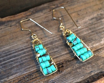 Wire Wrapped Teal Heishi Bead Earrings - Gold Wire Wrapped Earrings  - Turquoise Toned Earrings
