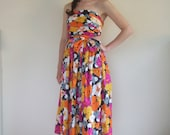 Vintage 80s New Trina Lewis strapless floral prom dress with attachable straps UK 8 10 Small
