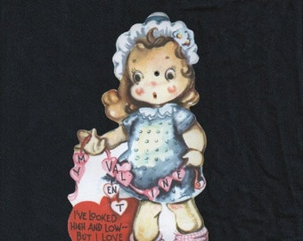Valentine card, vintage mechanical, valentines decoration, ornament, girl with moving eyes