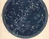 1934 star maps, astronomy star atlas map, 5 and 6 original vintage zodiac chart map stars February March April constellation star stargazing