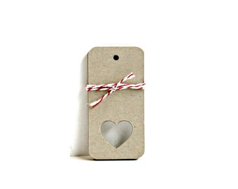 Kraft Heart Tags (Set of 10) - Wedding Gift Tags, Wedding Decor, Wedding Wish Tree, Wedding Tags, Gift Wrap, Gift Packaging