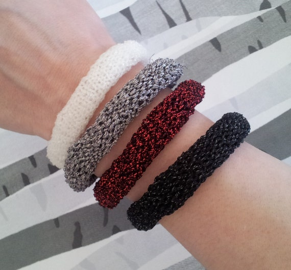 Sparkle Lurex Stackable Bracelet Black Red Silver or White Gothic Hand Knitted