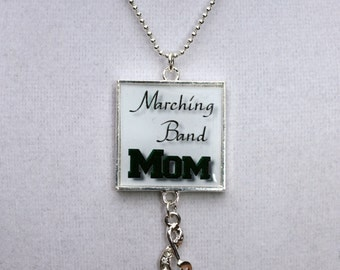 Marching Band Mom Square Resin Pendant with Treble Clef Charm, Band Mom Jewelry, Marching Band Jewelry, Marching Band Necklace