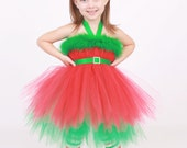 READY TO SHIP:  Tutu Dress - Holiday or Christmas Outfit - Green & Red - Elegant Elf - 12 month - 2 Toddler Girl - Cutie Patootie Designz