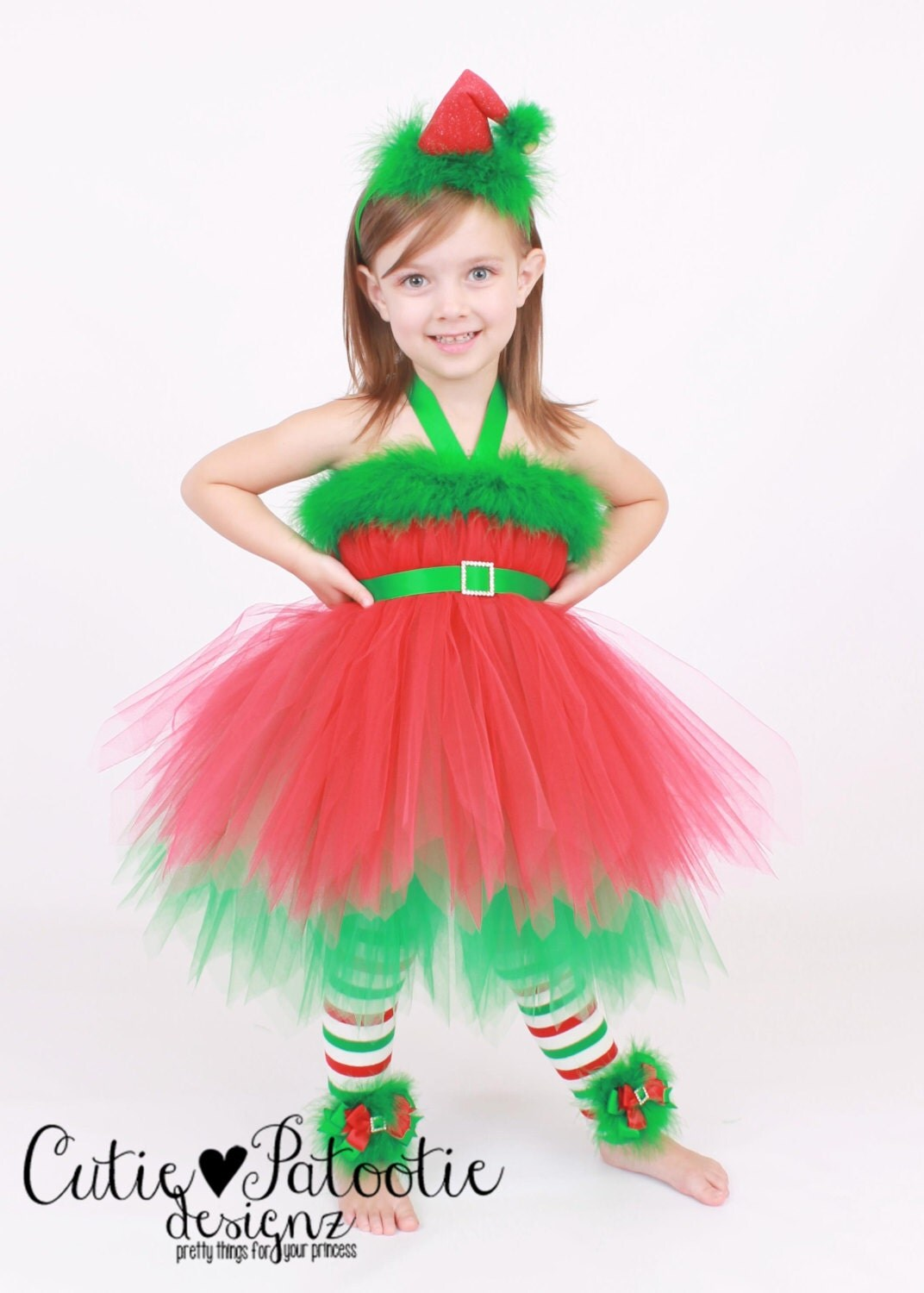 Tutu dress holiday or christmas outfit by cutiepatootiedesignz