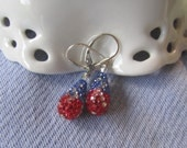 Fun for the Fourth of July, Swarovski Encrusted Teardrops in Red, White and Blue Crystals Embedded in Pave Tear Drops on Sterling Leverbacks
