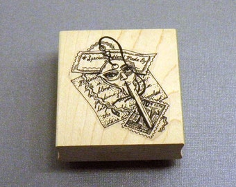 Key and Postiod Collage Rubber Stamp