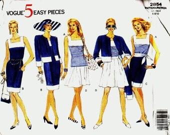 Vogue 2854 Jacket Dress Top Shorts Skirt Size 6-8-10 Vogue 5 easy pieces uncut Classic Colour Block sewing pattern